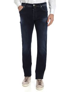 Jacob Cohën - Jeans blu scuro con logo color ocra