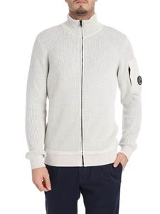 CP Company - Ecru and gray cardigan with logo