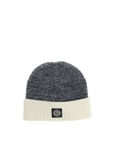 Stone Island Junior - Grey and white beanie with logo