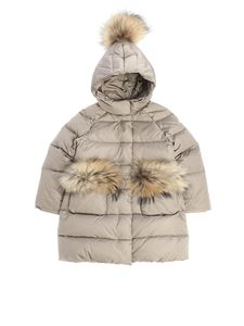 Il Gufo - Taupe-colored down jacket with fur
