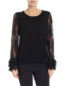 Patrizia Pepe - Black sweater with lace sleeves