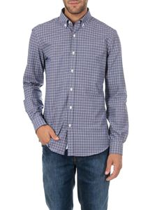Fay - White and blue checked button down shirt