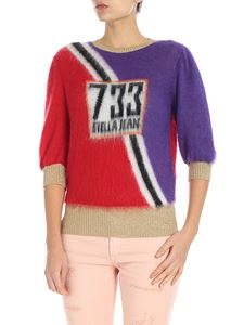 Stella Jean - Short-sleeved purple and red crewneck pullover