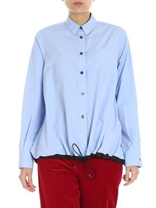 Alberto Biani  - Overfit light-blue shirt with black drawstring
