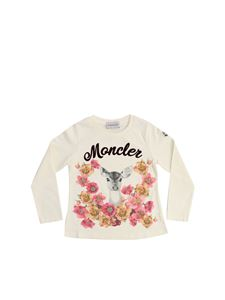 Moncler Jr - Cream color printed t-shirt