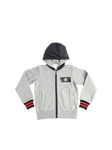 Moncler Jr - Gray technical fabric hoodie