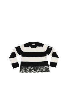 Moncler Jr - Striped black and white pullover