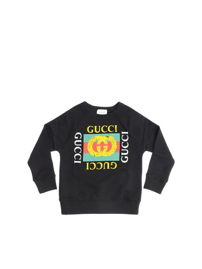d807582186011 Gucci Carrie Over black sweatshirt with logo print - 483878 X3G97 1060