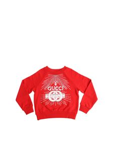 Gucci - Red sweatshirt with logo print and rhinestones