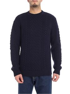 "Edwin - Blue ""United"" crewneck pullover with knitted effect"