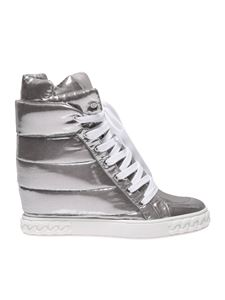 Casadei - Silver sneaker with inner wedge