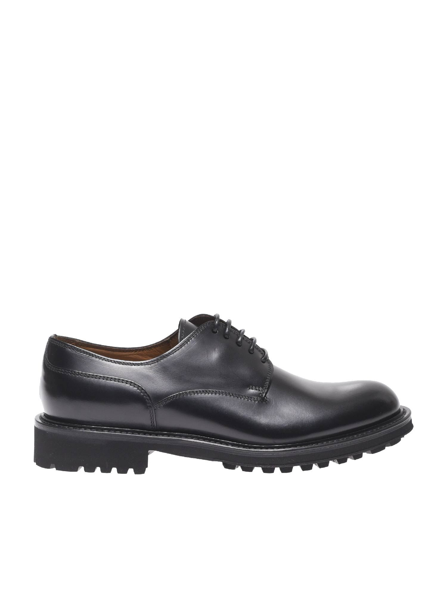 Doucal's Black Oxford Shoes With Lug Sole