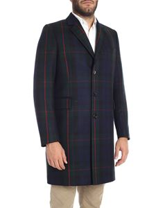 Paul Smith - Cappotto blu e verde motivo check