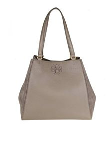 "Tory Burch - ""Mcgraw Mixed"" dove-grey shoulder bag"