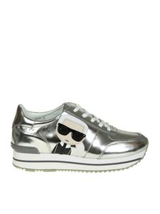 Karl Lagerfeld - Silver laminated sneaker with logo