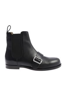 Jil Sander Navy - Black Chelsea ankle boots with strap