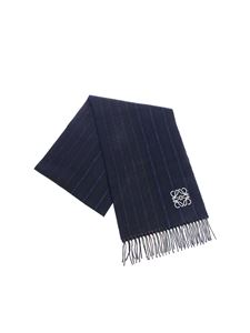 Loewe - Blue wool scarf with fringes