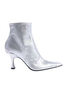 MM6 by Maison Martin Margiela - Silver pointed ankle boots with wrinkled effect