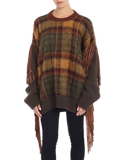 Dsquared2 - Green and brown crew-neck sweater