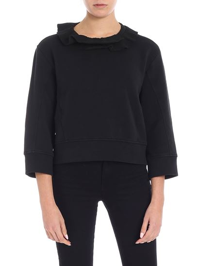 Dsquared2 - Black crop sweatshirt with ruffles
