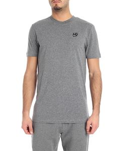 McQ Alexander Mcqueen - Gray crewneck t-shirt with swallow detail