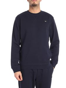 McQ Alexander Mcqueen - Blue crew-neck sweatshirt with swallow patch