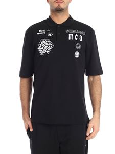 McQ Alexander Mcqueen - Black polo with white embroideries