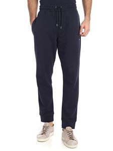 McQ Alexander Mcqueen - Blue cotton trousers with swallow patch
