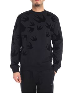 McQ Alexander Mcqueen - Black crew-neck sweatshirt with swallow swarm print