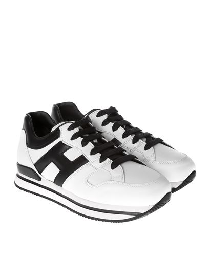 Hogan Fall Winter 21/22 h222 white and black sneakers ...