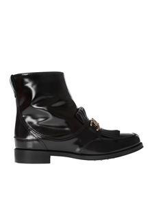 Tod's - Black ankle boots with fringes and zip