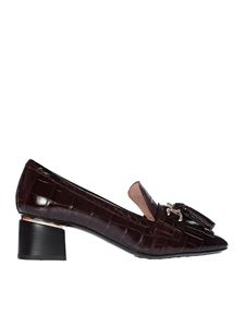 Tod's - Burgundy reptile effect pumps