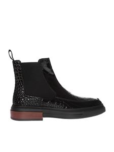 Tod's - Black ankle boots with cocco print