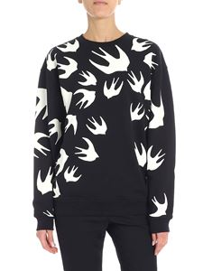 McQ Alexander Mcqueen - Black sweatshirt with swallow swarm print