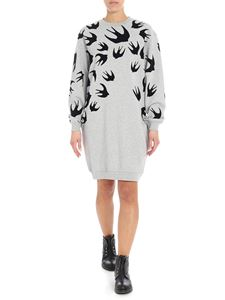 McQ Alexander Mcqueen - Melange grey dress with swallow swarm print