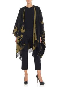 McQ Alexander Mcqueen - Black cape with yellow swallow motif
