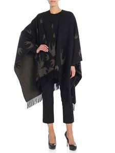 McQ Alexander Mcqueen - Black cape with military green swallow motif
