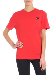 McQ Alexander Mcqueen - Red T-shirt with contrasted patch