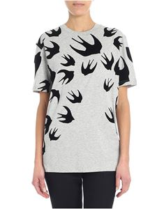 McQ Alexander Mcqueen - Grey T-shirt with swallow swarm print