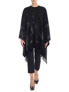 McQ Alexander Mcqueen - Black cape with grey swallow motif