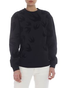 McQ Alexander Mcqueen - Black sweatshirt with swallow print