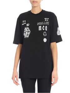 McQ Alexander Mcqueen - Black T-shirt with contrasted prints