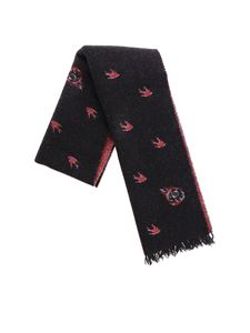 McQ Alexander Mcqueen - Black jacquard scarf with swallow motif