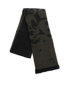 McQ Alexander Mcqueen - Black and military green scarf with jaquard motif