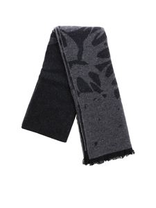 McQ Alexander Mcqueen - Anthracite and grey scarf with jaquard motif