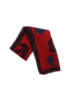 McQ Alexander Mcqueen - Red and blue scarf with swallow print