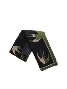 McQ Alexander Mcqueen - Green and black scarf with swallow print