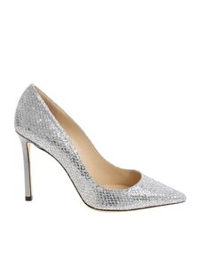 "Jimmy Choo - Silver ""Romy 100"" pointed pumps"