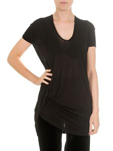 Rick Owens - Black t-shirt with drapery