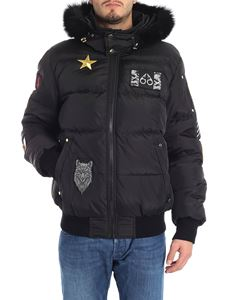 "MOOSE KNUCKLES - Black ""Colinton"" down jacket with patch"